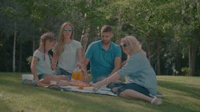 有picknicking夏令时的孩子的快乐的家庭 影视素材