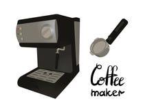 有portafilter的咖啡机 在咖啡壶上写字 皇族释放例证