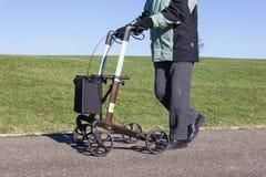 有rollator的老人在一个bikeway和晴朗的冬日 免版税库存图片