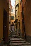 有s的一条狭窄的步行街道在韦尔纳扎 库存照片