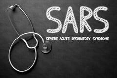 有SARS概念的黑板 3d例证 免版税库存照片