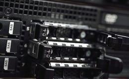 有SAS的硬盘驱动器服务器盘子 库存照片
