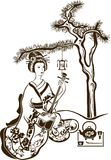 有Shamisen的传统日本艺妓 库存图片