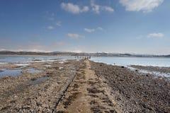 从menai海峡的Caernarfon 库存图片