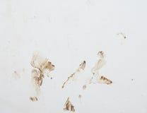 有splasing的泥的白色墙壁 库存照片