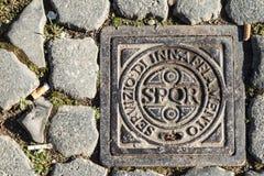 有SPQE的罗马流失盖子 免版税库存照片