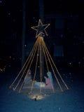 有star.jpg的圣诞节饲槽 免版税库存图片