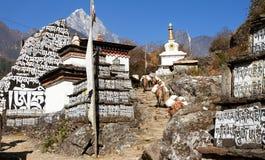 有stupa的佛教祷告玛尼墙壁 免版税库存图片