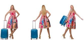 有suitacases的妇女为暑假做准备 免版税图库摄影