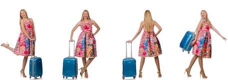 有suitacases的妇女为暑假做准备 免版税库存图片