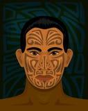 有tattoed面孔的毛利人人 免版税库存图片