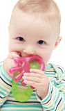 有teether的婴孩 免版税库存图片