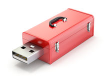 有USB插座的工具箱 免版税库存照片