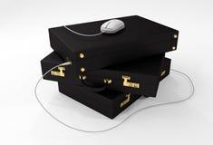 有USB老鼠的数字式公文包 库存例证