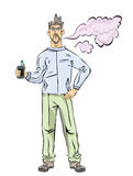 有vaping的胡子的人 蒸气云彩 传染媒介例证,隔绝在白色背景 皇族释放例证