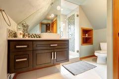 有vautled天花板和玻璃门阵雨的卫生间 免版税库存图片