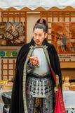 有vitage服装的人们在名古屋城堡 免版税图库摄影