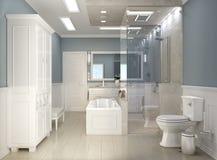 有wc的现代经典卫生间 免版税库存照片