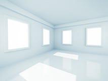 有Windows的空的现代室 库存图片