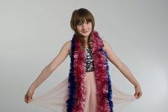 有X-mas装饰的愉快的女孩 免版税图库摄影