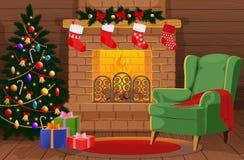 有xmas树的,礼物,壁炉,扶手椅子装饰的圣诞节室 库存图片