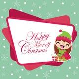 有Xmas礼物袋子的逗人喜爱的矮子女孩在雪花背景圣诞卡设计的动画片例证 皇族释放例证