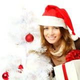 有Xmas装饰的圣诞节妇女 库存照片