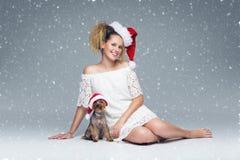 有yorkie狗的美丽的女孩在圣诞老人盖帽 库存照片