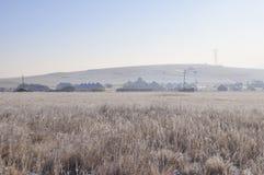 有Yurt的村庄在草原 库存图片