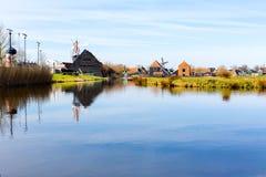 有Zaanse的Schans,传统村庄,荷兰,北荷兰省全景 图库摄影