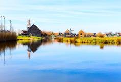 有Zaanse的Schans,传统村庄,荷兰,北荷兰省全景 免版税库存图片