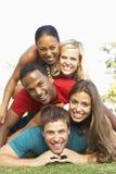 朋友一起有乐趣的组年轻人 免版税库存照片
