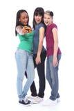 朋友乐趣女孩愉快的照片自学员 免版税库存图片