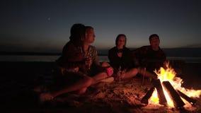 朋友加速的fiootage坐在格子花呢披肩的海滩在篝火附近 一起花费时间的两对夫妇 影视素材