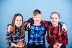 朋友孩子互相拥抱 r 男孩和女朋友相似的方格的衣裳的吃苹果 青少年与 免版税库存照片