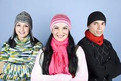 朋友愉快的人员晒干冬天 库存图片