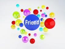 朋友标志 概念数位生成了喂图象网络res社交 免版税图库摄影
