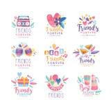 朋友永远商标设计集合,愉快的友谊天创造性的徽章可以为横幅,海报,贺卡,t使用 库存例证