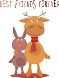 朋友的贺卡有鹿和兔子的 库存照片