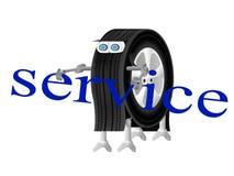 服务中心的机器人轮子商标 库存照片