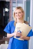 服务台女性护士工作 库存照片