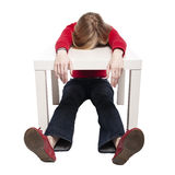 服务台滑稽休眠小的妇女年轻人 免版税库存照片