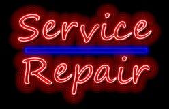 服务和修理霓虹发光签到红色和蓝色 库存照片