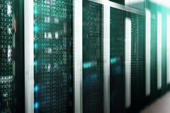 服务器在datacenter,多曝光的室内部 免版税图库摄影