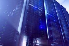服务器在datacenter,多曝光的室内部 免版税库存照片