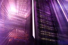 服务器在datacenter,多曝光的室内部 免版税库存图片