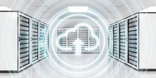 服务器室与云彩蓝色象3D翻译的数据中心 免版税库存图片