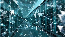 服务器室中心交换的网络数据3D翻译 库存图片