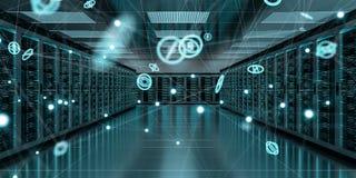 服务器室中心交换的网络数据3D翻译 库存照片