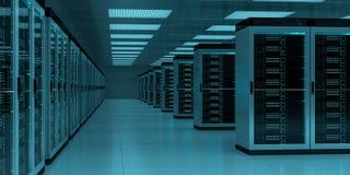 服务器室数据中心内部3D翻译 库存图片